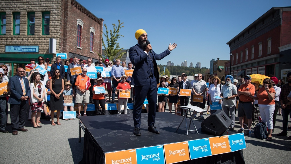 NDP Leader Jagmeet Singh announces he will run in a byelection in Burnaby South, during an event at an outdoor film studio, in Burnaby, B.C., on Wednesday August 8, 2018. THE CANADIAN PRESS/Darryl Dyck