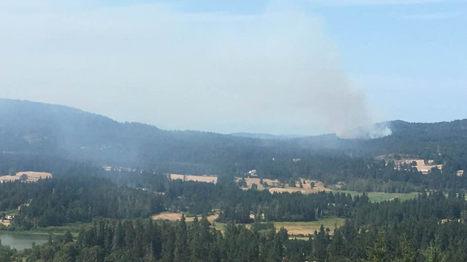 Smoke is visible above the Cowichan Valley after a 1.1-hectare wildfire was discovered on Maple Mountain Wednesday, Aug. 8, 2018. (Facebook/Christopher Paton-Gay)