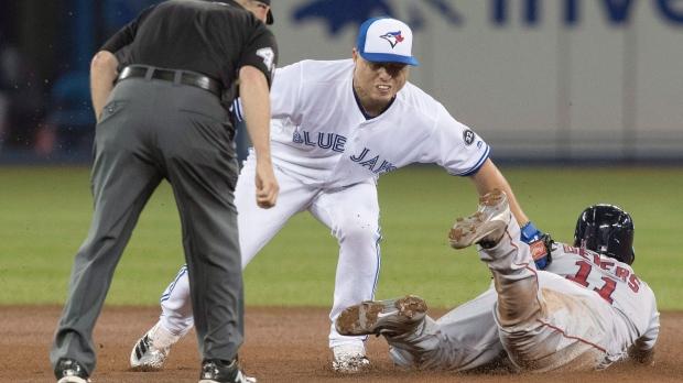 Toronto Blue Jays' Aledmys Diaz, Rafael Devers