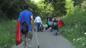 Volunteers came together to clean up a trail in Cambridge.