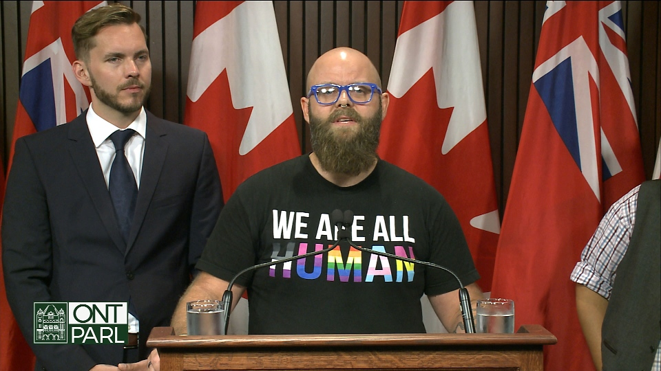Human rights lawyers make an announcement with respect to Premier Doug Ford's plan to shelve the 2015 sex-ed curriculum and revert to Ontario's 1998 curriculum.