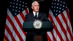 U.S. Vice President Mike Pence speaks during an event on the creation of a United States Space Force, Thursday, Aug. 9, 2018, at the Pentagon. (AP Photo/Evan Vucci)