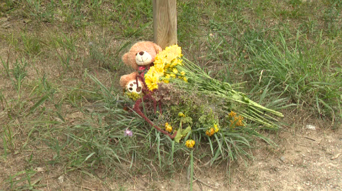 Flowers and a teddy bear were placed near the area where a 3-year-old girl was hit and killed by a pickup truck.