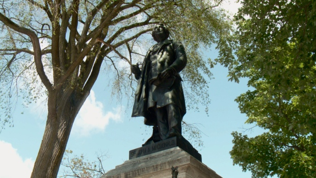 Sir John A Macdonald statue on Parliament Hill.