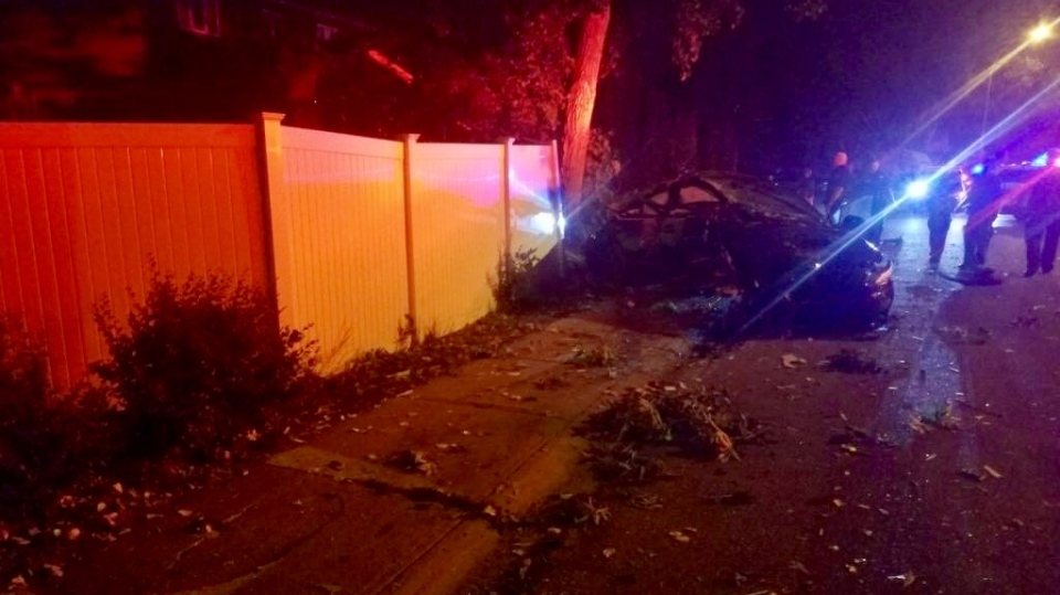 Damage from a car crashing into the yard is shown on Aug. 8, 2018 (Supplied)