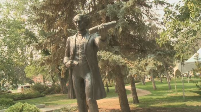 A statue of Sir John A.MacDonald statue is shown in Victoria Park