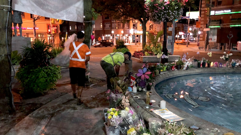 Memorials that sprung up on Danforth Avenue in the aftermath of a mass shooting are being relocated to accommodate the annual Taste of Danforth festival. (CTV News Toronto/Peter Muscat)