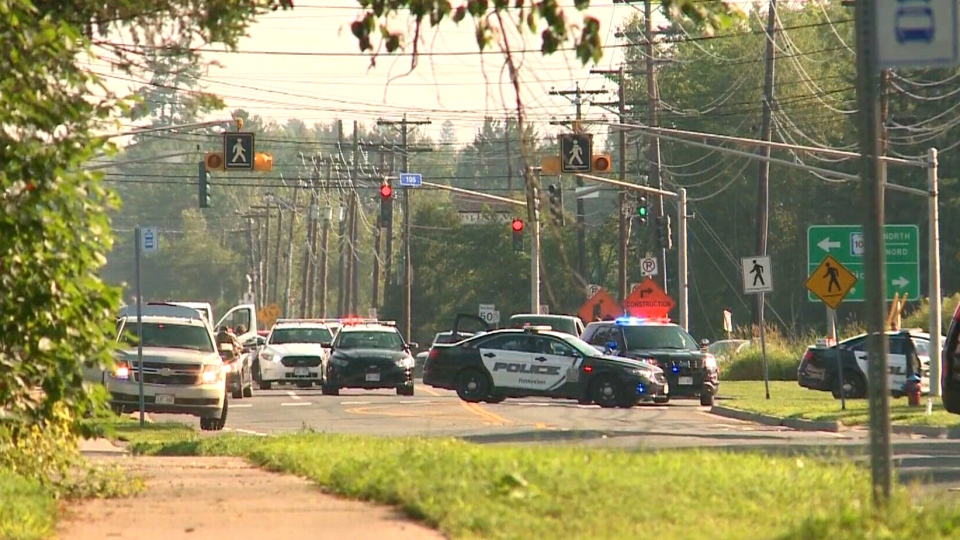 Heavy police presence in a Fredericton neighbourhood, Friday, Aug. 10, 2018.