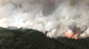 The South Stikine River fire burns in an Aug.6, 2018 handout photo provided by the BC Wildfire Service. (THE CANADIAN PRESS/HO-BC Wildfire Service)