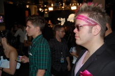 Perez Hilton listens backstage at the MuchMusic Video Awards in Toronto, Sunday, June 21, 2009. (Sheri Block / CTV.ca)