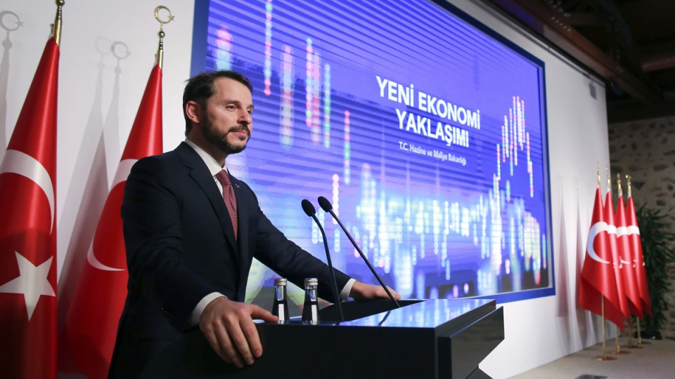 Berat Albayrak, Turkey's Treasury and Finance Minister, gestures as he talks during a conference in Istanbul, Friday, Aug. 10, 2018. (Mucahid Yapici / AP)