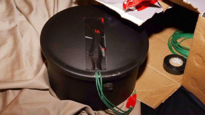 A pressure cooker bomb seized during Project Territory is seen in this provided photo.