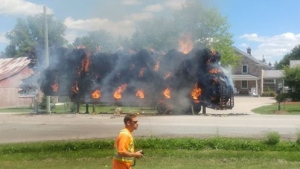 Fire crews battle hay bale fire