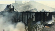 One home was gutted by fire