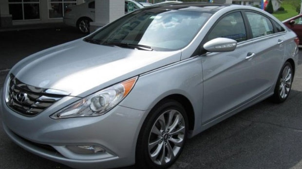 Police believe that Duthie was driving a 2012 Hyundai Sonata similar to this one in the days before the bodies of three victims were found. (Supplied)