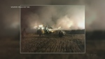 Crews respond to massive hay bale fire near Fergu