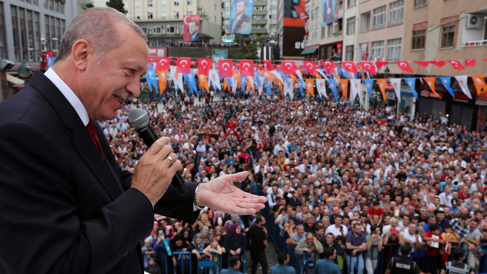 Turkey's President Recep Tayyip Erdogan addresses his supporters in his Black Sea hometown, Rize, Turkey, Saturday, Aug. 11, 2018.(Presidential Press Service)