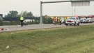 Police on scene at the crash involving a pickup truck and five cyclists on the Sherwood Park Freeway on Saturday, August 11, 2018.