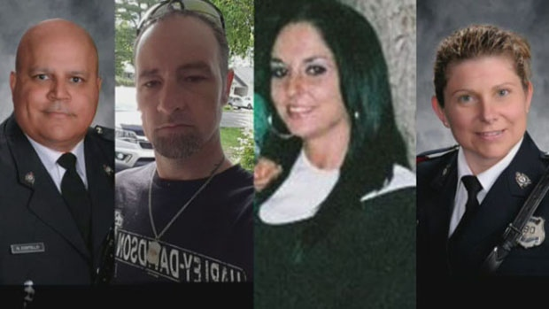 Fredericton shooting victims Const. Robb Costello, Donnie Robichaud, Bobbie Lee Wright and Const. Sara Mae Burns are shown in this composite image. (Fredericton Police handout / Facebook)