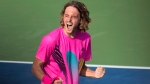 Stefanos Tsitsipas, of Greece, celebrates his win over Kevin Anderson, of South Africa, during Rogers Cup semifinal tennis tournament action in Toronto on Saturday, August 11, 2018. (THE CANADIAN PRESS/Frank Gunn)