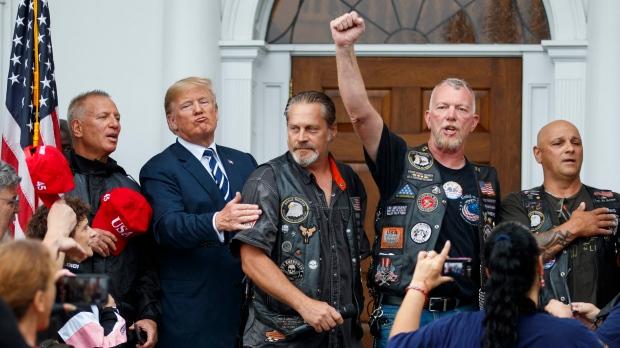 U.S. President Donald Trump with bikers