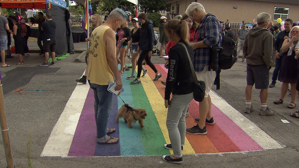 People are seen at the Burnaby Pride event on Aug. 11, 2018.