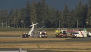 The aftermath of a plane crash at the Abbotsford Airport is seen in this image from Aug. 11, 2018.