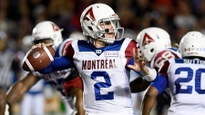 Montreal Alouettes quarterback Johnny Manziel makes a pass during first half CFL action against the Ottawa Redblacks, in Ottawa on Saturday, Aug. 11, 2018. (THE CANADIAN PRESS / Justin Tang)