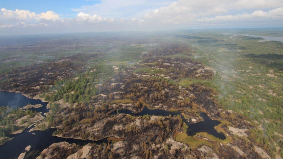 Land scarred by the Parry Sound 33 wildfire is pictured on Thursday, Aug. 9, 2018. (Ontario Ministry of Natural Resources and Forestry)