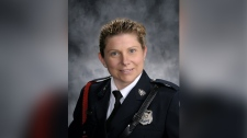 Const. Sara Burns is one of two officers killed during a shooting in Fredericton, N.B. (Fredericton Police Force/ Twitter)