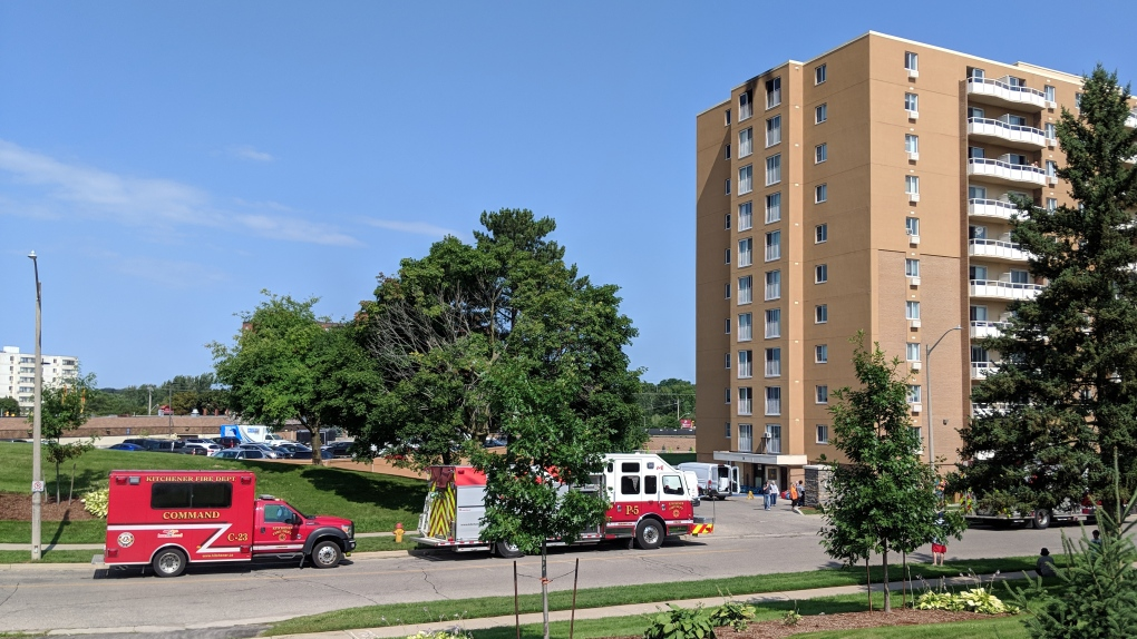 Fire response vehicles outside a highrise