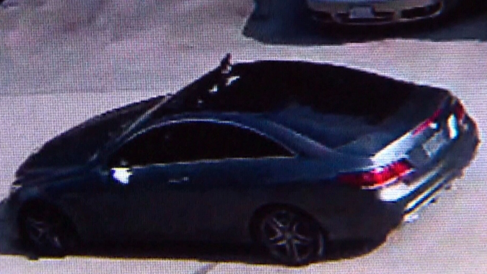 The grey Mercedes Benz involved in a brazen daylight shooting in a North York neighbourhood on Saturday afternoon.
