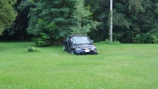 Car with damage on the grass