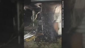 Photo following a fire in Wadena.