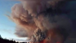 A wildfire in northern B.C.