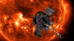 This image made available by NASA shows an artist's rendering of the Parker Solar Probe approaching the Sun. (Steve Gribben/Johns Hopkins APL/NASA via AP)