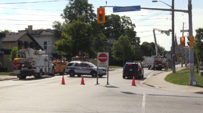 Woolwich Street was closed until just after 10:30 a.m. Monday.