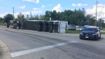 A tractor trailer on its side in Arthur.