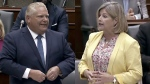 Ontario Premier Doug Ford and NDP Leader Andrea Horwath face off in Queen's Park on August 13, 2018.