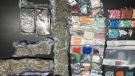 These drugs, which include marijuana, oxycodone and fentanyl, were seized at the Edmonton International Airport July 31, 2018.