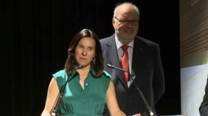 Montreal mayor Valerie Plante and Treasury Board President Pierre Arcand announce the province has purchased a building in Montreal