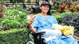 Danielle Kane is seen in this photo after waking up from a medically-induced coma. (GoFundMe.com)