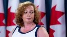 Lisa MacLeod, Ontario's Minister of Children, Community and Social Services, speaks with the media in Ottawa, Monday Aug. 13, 2018. (Adrian Wyld / THE CANADIAN PRESS)