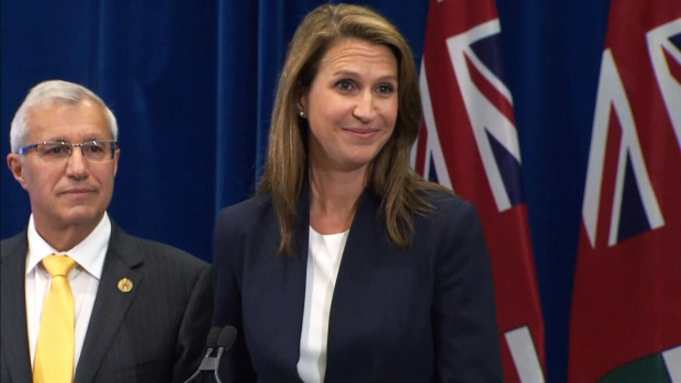 Ontario Attorney General Caroline Mulroney and Ontario Finance Minister Vic Fedeli discuss the Ontario government's plan to sell legal cannabis through online stores on August 13, 2018.