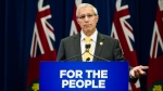 Ontario Minister of Finance Vic Fideli delivers remarks following an announcement on Ontario's cannabis retail model, in Toronto on Monday, August 13, 2018.(THE CANADIAN PRESS/Christopher Katsarov)