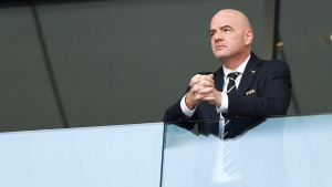 In this Saturday, June 23, 2018, file photo, FIFA President Gianni Infantino attends the group G match between Belgium and Tunisia at the 2018 soccer World Cup in the Spartak Stadium in Moscow, Russia. (AP Photo/Matthias Schrader, File)