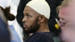 Defendant Siraj Wahhaj sits in court in Taos, N.M., for a detention hearing, Monday, Aug. 13, 2018. (Roberto E. Rosales/The Albuquerque Journal via AP, Pool)