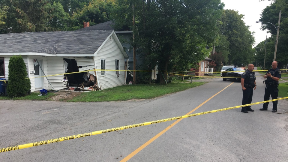 Chateauguay police closed Lac Saint Louis Rd. in Lery, on Montreal's south shore, after a car went into two houses (CTV Montreal/Francois Sauvé)