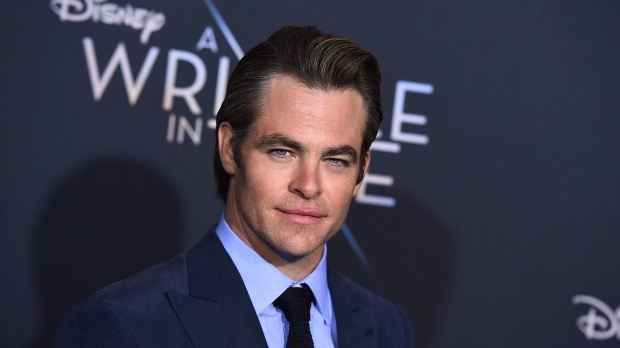 """Chris Pine arrives at the world premiere of """"A Wrinkle in Time"""" at the El Capitan Theatre on Monday, Feb. 26, 2018, in Los Angeles. THE CANADIAN PRESS/AP, Jordan Strauss/Invision"""