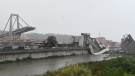 A view of the collapsed Morandi highway bridge in Genoa, northern Italy, Tuesday, Aug. 14, 2018. (Luca Zennaro/ANSA via AP)